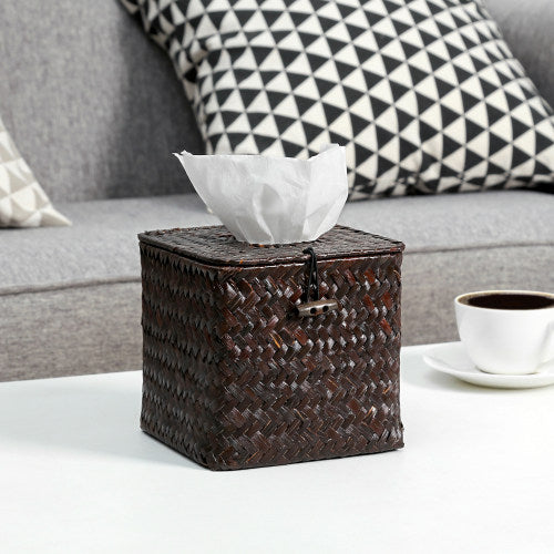 Woven Brown Seagrass Tissue Box w/Hinged Top Lid