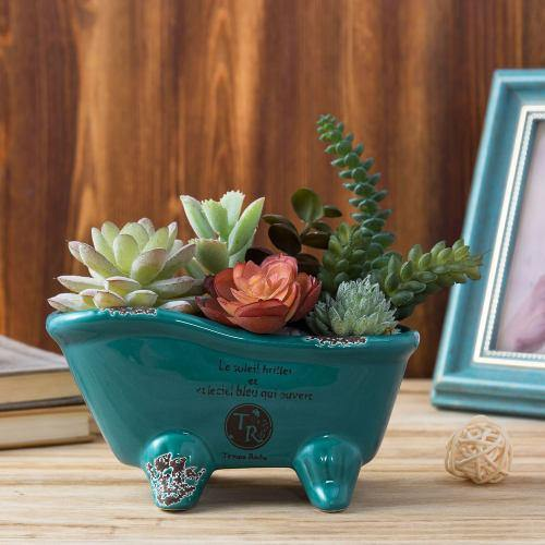 Petite French Country Bathtub Flower Pot, Turquoise