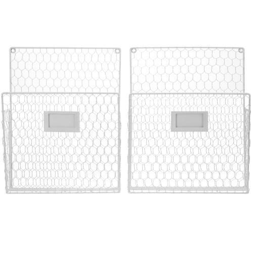 Chicken Wire Baskets w/ Chalkboard Label, White, Set of 2-MyGift