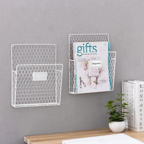 Chicken Wire Baskets w/ Chalkboard Label, White, Set of 2
