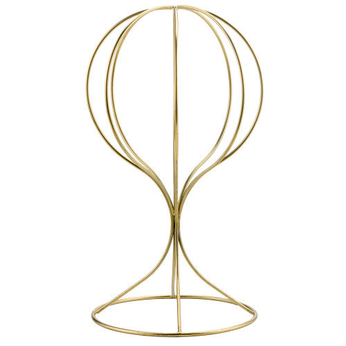 Brass Plated Metal Hat & Wig Display Stand