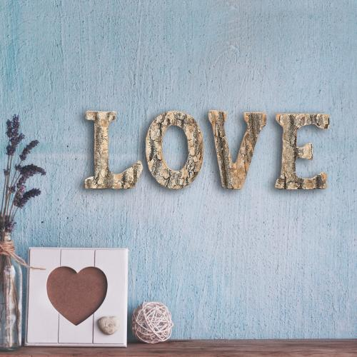 Rustic Exposed Wood 'Love' Block Letter Sign-MyGift