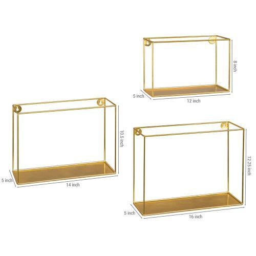 Modern Metal Wire Frame Shadow Boxes, Brass, Set of 3 - MyGift