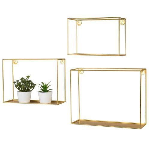 Modern Metal Wire Frame Shadow Boxes Brass