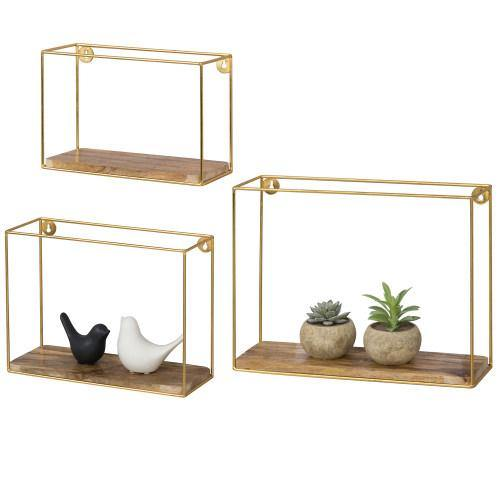 Modern Metal Wire and Wood Shadow Boxes, Brass & Mango Wood, Set of 3 - MyGift
