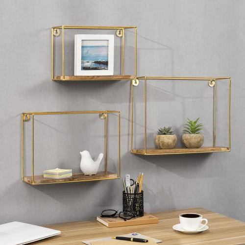 Modern Metal Wire and Wood Shadow Boxes, Brass & Mango Wood, Set of 3