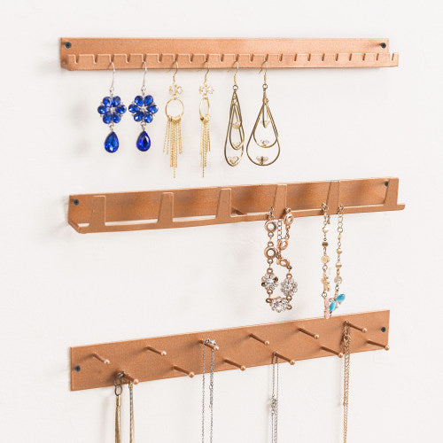 Wall Mounted Rose Gold Metal Jewelry Rack, 3 Piece Set-MyGift