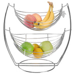 2 Tier Chrome Double Hammock Produce Metal Basket Rack Display Stand - MyGift Enterprise LLC