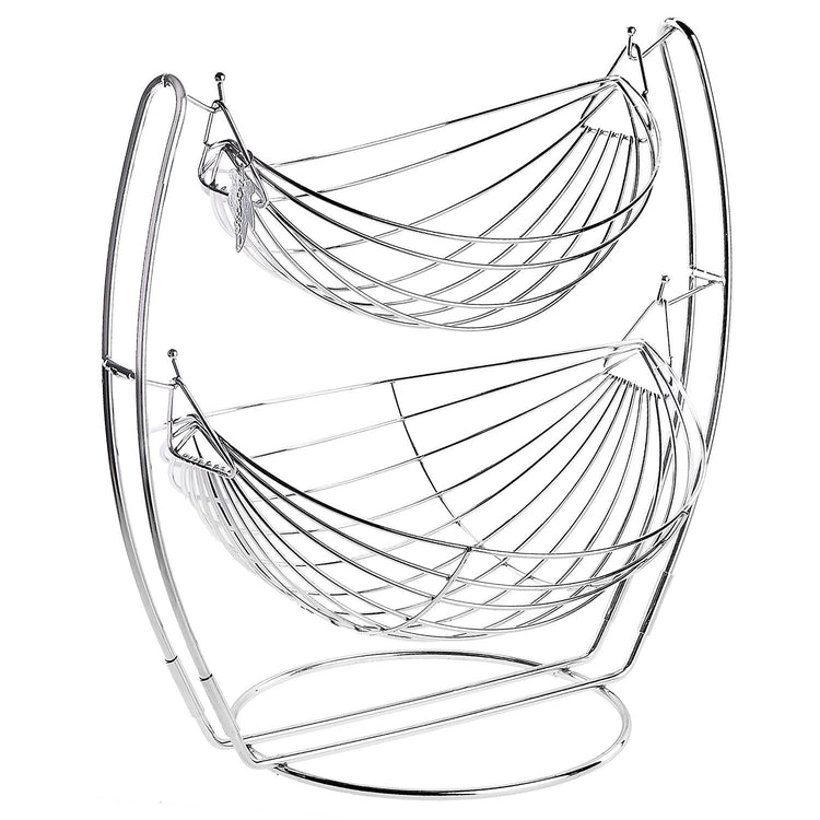 2 Tier Chrome Double Hammock Produce Metal Basket Rack Display Stand