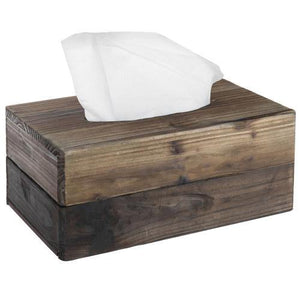 Rustic Dark Torched Wood Tissue Box Cover - MyGift