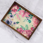 Acacia Wood Tray with Vintage Floral Print