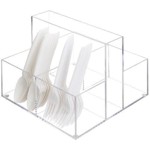 Acrylic Napkin Storage Caddy with 4 Slots for Utensils & Condiments - MyGift