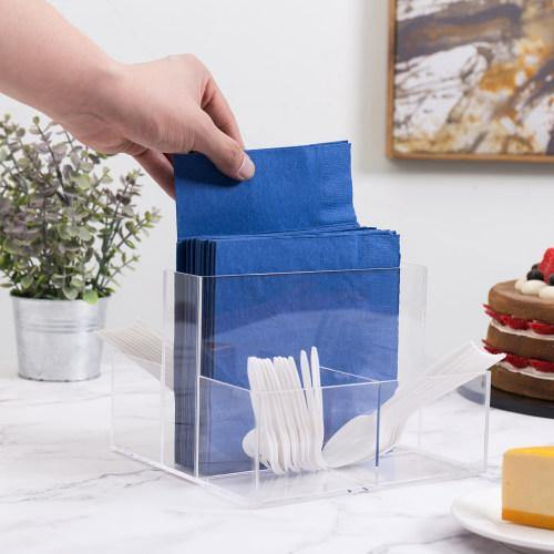 Acrylic Napkin Storage Caddy with 4 Slots for Utensils & Condiments