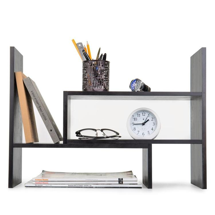 Adjustable Wood Desktop Storage Organizer Display Shelf, Gray