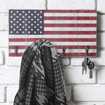 All-American Flag Design Wood Entryway Rack