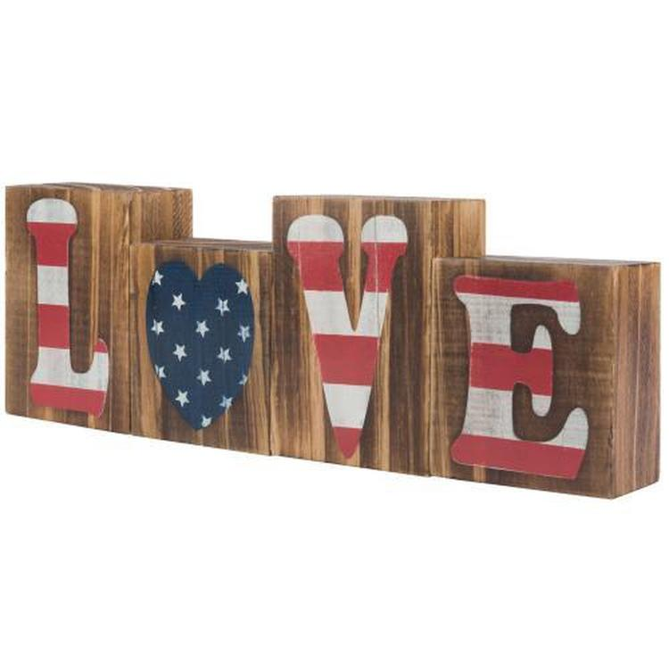 "American Flag Rustic Wood Letter Block Sign ""Love"""