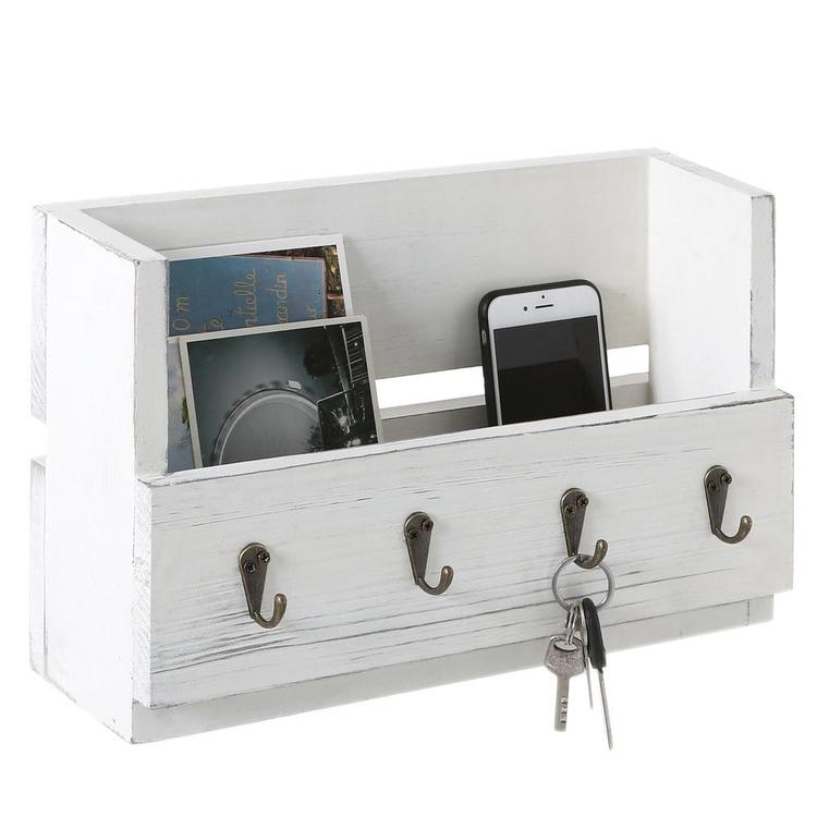 Antique White Wood Wall-Mounted Magazine & Mail Holder with 4 Key Hooks - MyGift Enterprise LLC