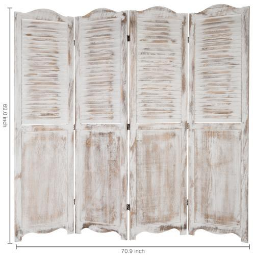 Antique Whitewashed Wood Room Divider Screen