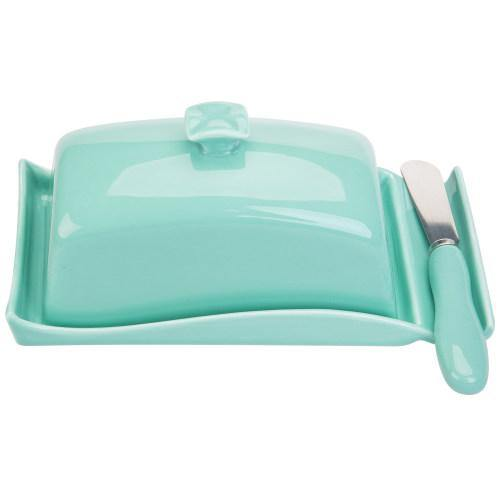 Aqua Ceramic Butter Dish w/ Cover and Knife