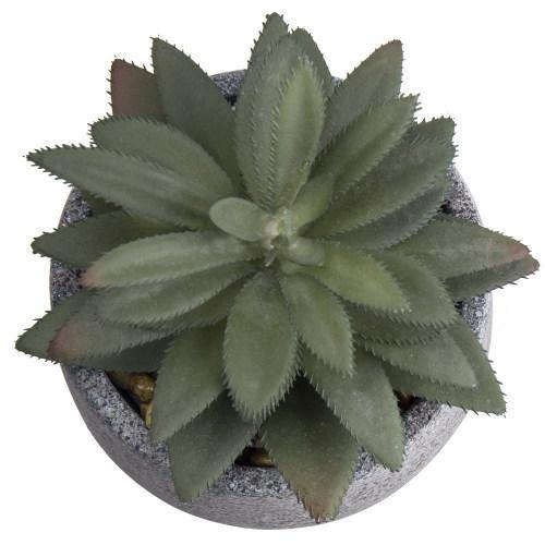 Artificial Agave Succulent in Gray Speckled Cement Pot-MyGift