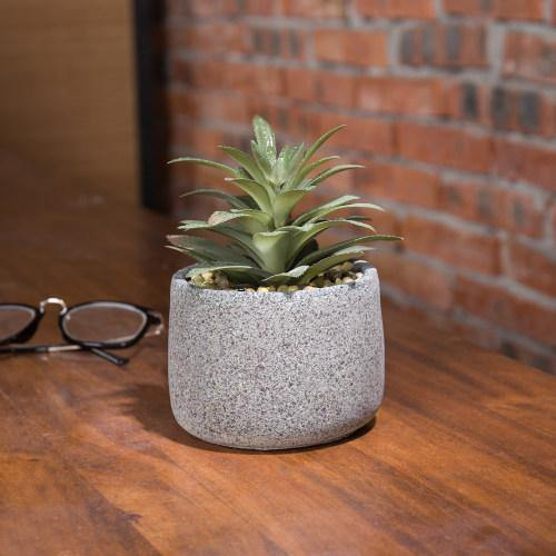 Artificial Agave Succulent in Gray Speckled Cement Pot