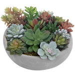 Artificial Assorted Succulent Arrangement in Round Gray Cement Planter Pot - MyGift