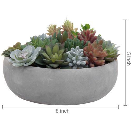 Artificial Assorted Succulent Arrangement in Round Gray Cement Planter Pot-MyGift