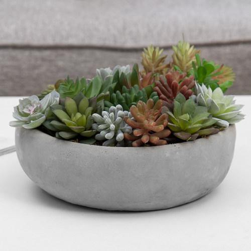 Artificial Assorted Succulent Arrangement in Round Gray Cement Planter Pot