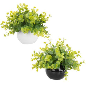 Artificial Boxwood Plants in Black and White Round Pots, Set of 2-MyGift