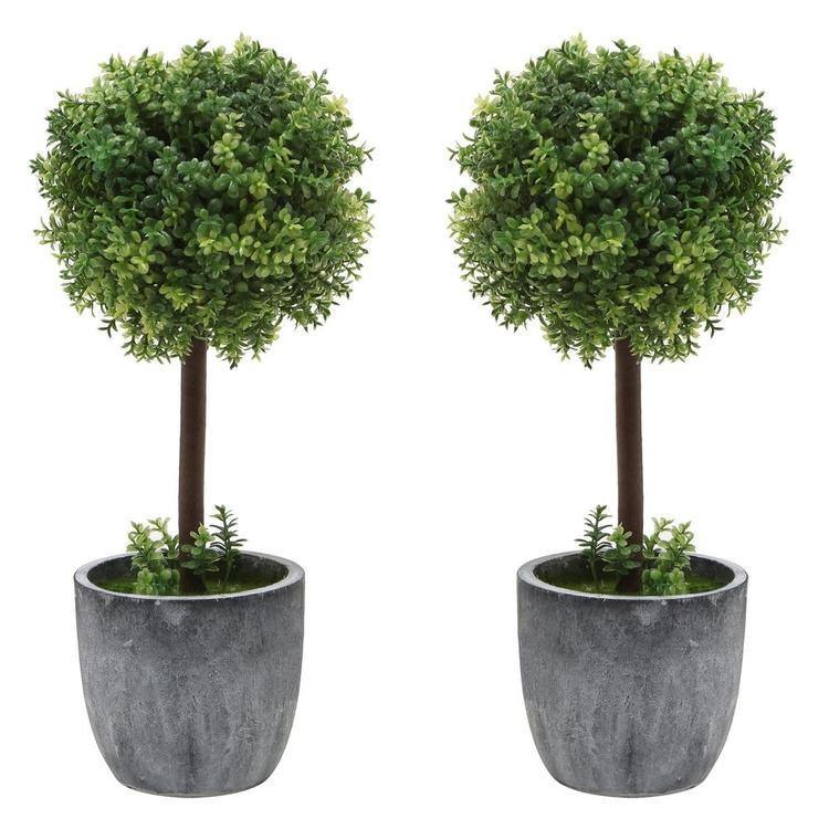 Artificial Boxwood Topiary Tabletop Trees, Set of 2