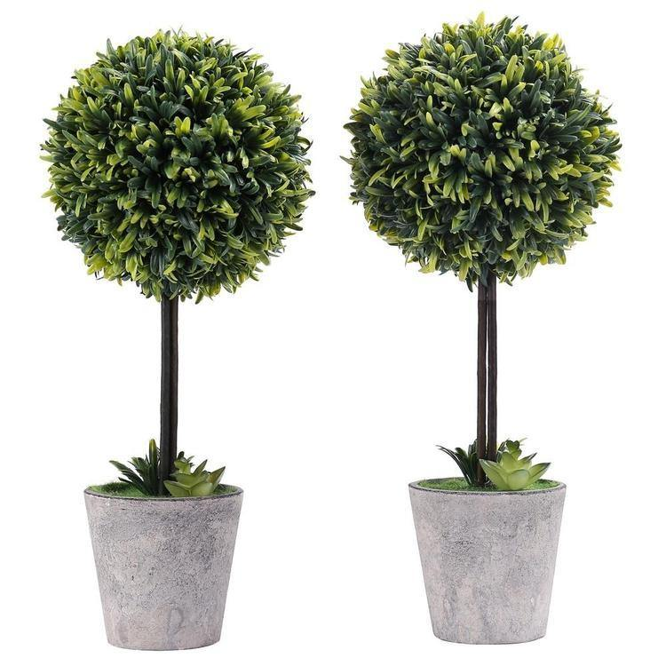 Artificial Boxwood Topiary Tree, Set of 2