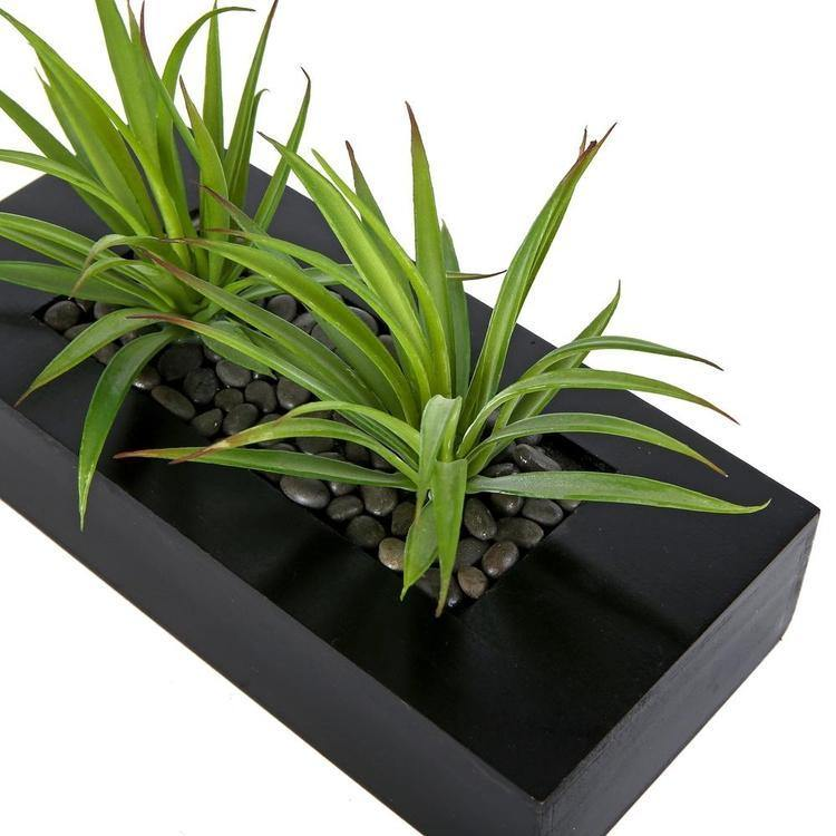 Artificial Green Grass in Black Wood Pot - MyGift