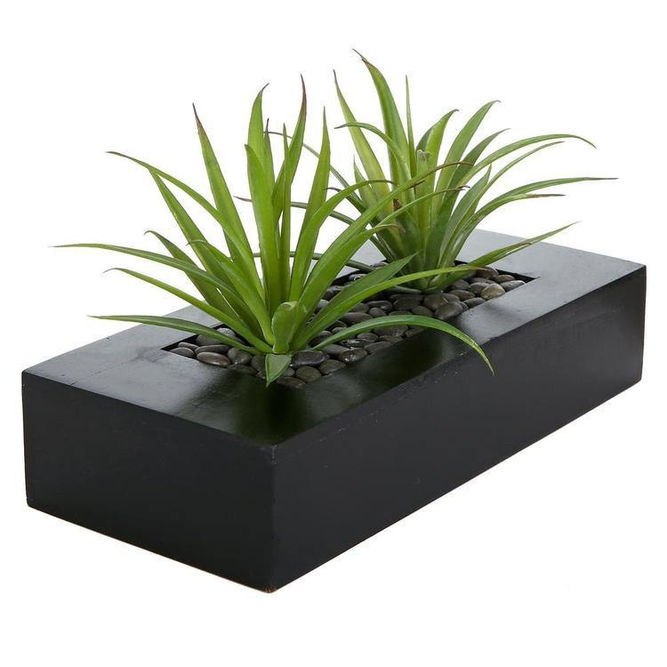 Artificial Green Grass in Black Wood Pot