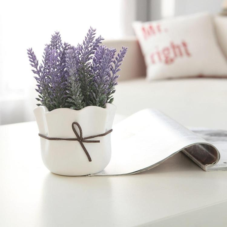 Artificial Lavender with White Ceramic Pot - MyGift Enterprise LLC