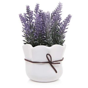 Artificial Lavender with White Ceramic Pot