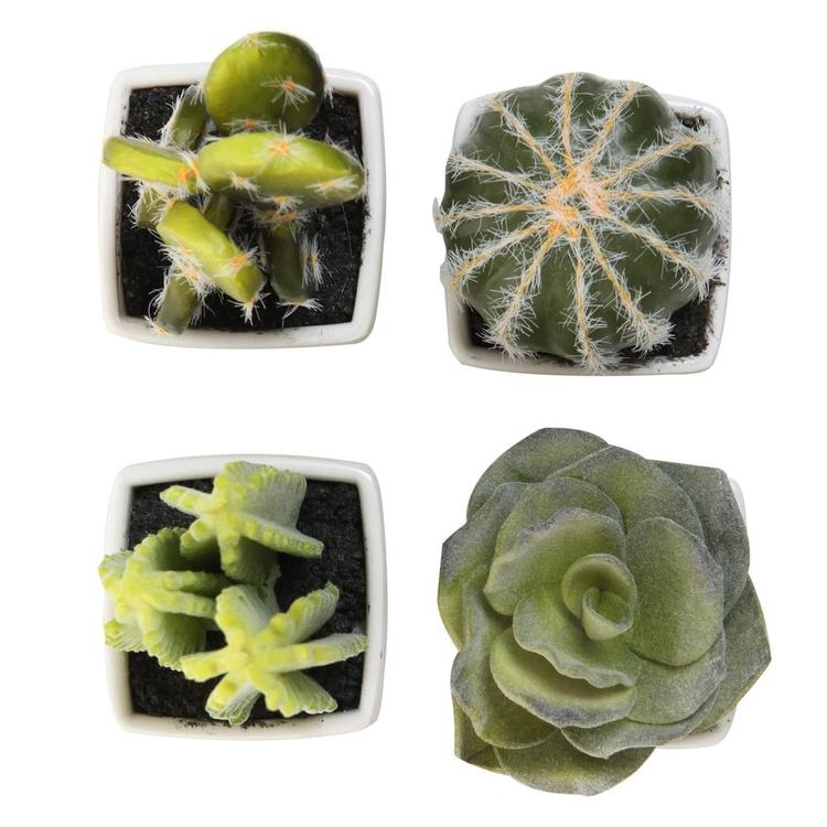 Artificial Mini Succulent & Cactus Plants in White Cube-Shaped Pots, Set of 4 - MyGift Enterprise LLC