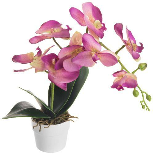 Artificial Pink Silk Phalaenopsis Orchid Flower with White Ceramic Planter - MyGift