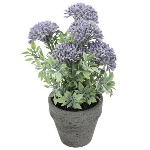 Artificial Purple Agapanthus Flowers in Textured Pulp Planter Pot-MyGift