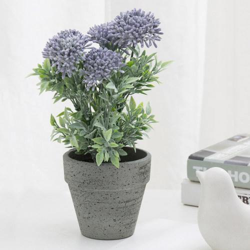Artificial Purple Agapanthus Flowers in Textured Pulp Planter Pot