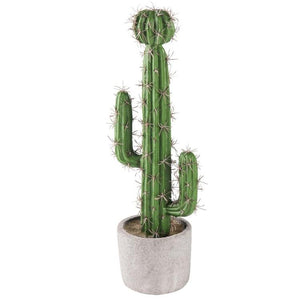 13-inch Artificial Saguaro Cactus in Cement Planter Pot - MyGift Enterprise LLC