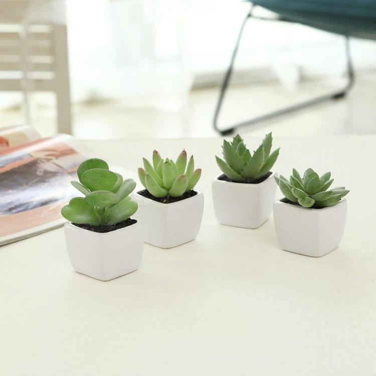 Artificial Square Succulent Planter, Set of 4
