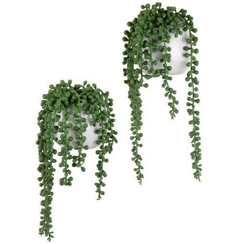 Artificial String of Pearls Plants in White Ceramic Wall-Hanging Planters, Set of 2 - MyGift