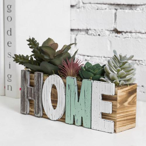 Artificial Succulent Arrangement with Burnt Wood Planter Box & Multicolored Cutout Letters HOME-MyGift