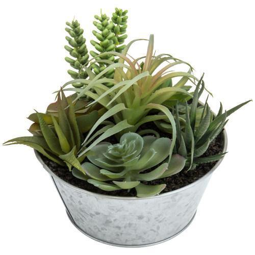 Artificial Succulent Arrangement with Galvanized Metal Planter, 7 Inch-MyGift