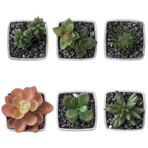 Artificial Succulent Plants in Gray Melamine Pots, Set of 6-MyGift