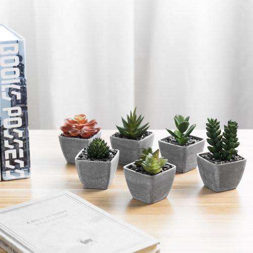 Artificial Succulent Plants in Gray Melamine Pots, Set of 6
