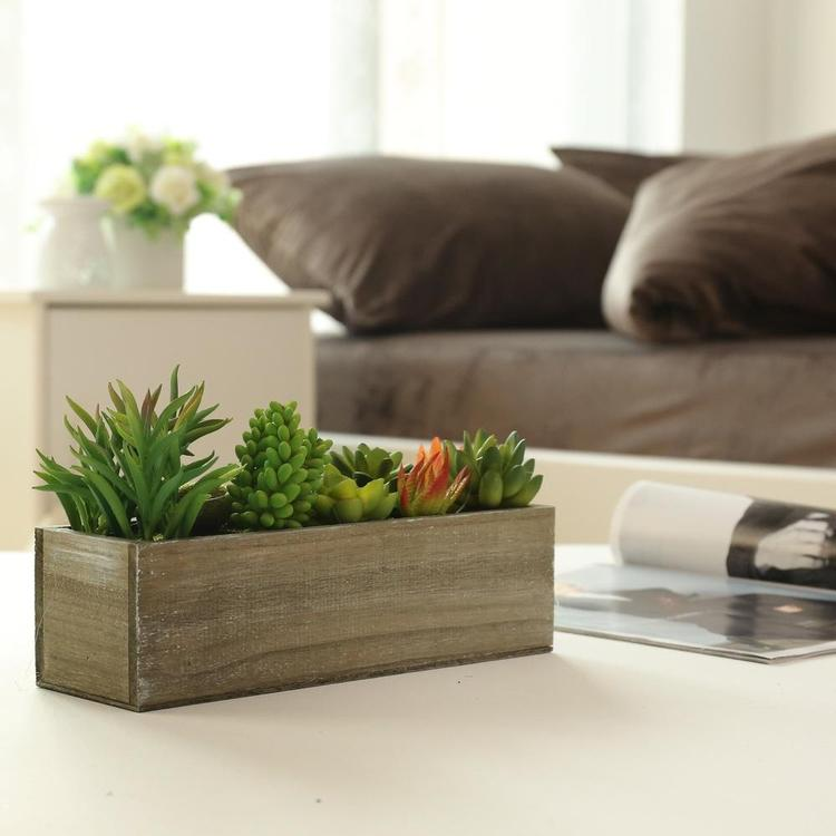 Mixed Artificial Succulent Plants in Rectangular Brown Wooden Planter Box - MyGift Enterprise LLC