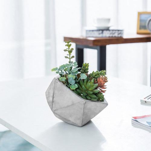 Artificial Succulents in Hexagon Cement Planter