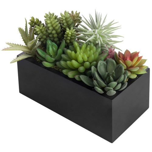 Assorted Artificial Succulents in Modern Black Planter Box