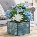 Assorted Artificial White & Violet Flower Arrangement in Blue Wood Planter Box-MyGift
